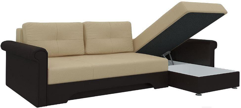 Диван Mebelico Гранд 491 правый 58016 экокожа бежевый/коричневый - фото 3