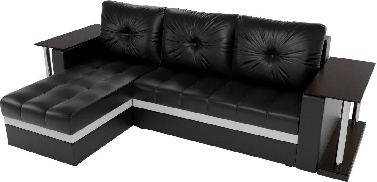 Диван Mebelico Атланта М левый 2 стола экокожа черный - фото 3