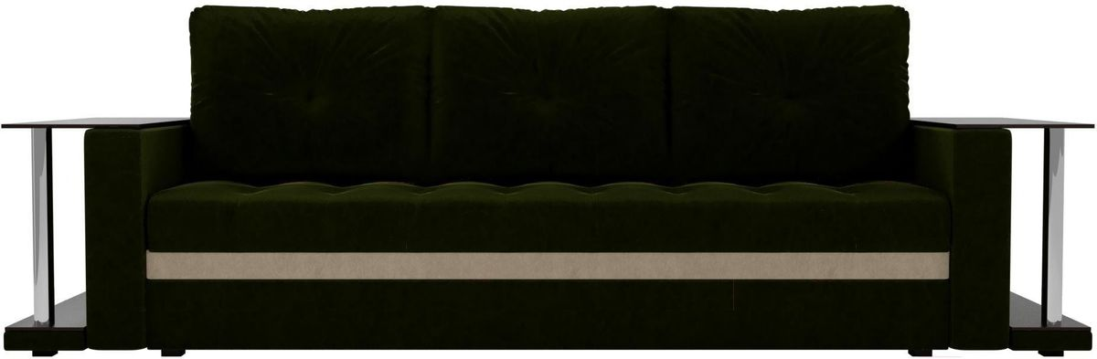 Диван Mebelico Атланта М 2 стола вельвет зеленый - фото 1