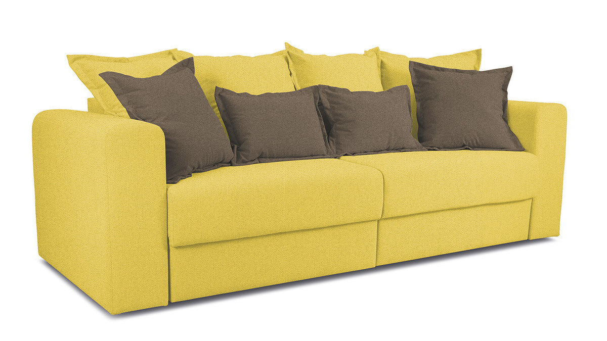 Диван ТриЯ «Раймонд» (Neo 08 (рогожка) желтый подушка Neo 04 (рогожка) светло-коричневый) - фото 1