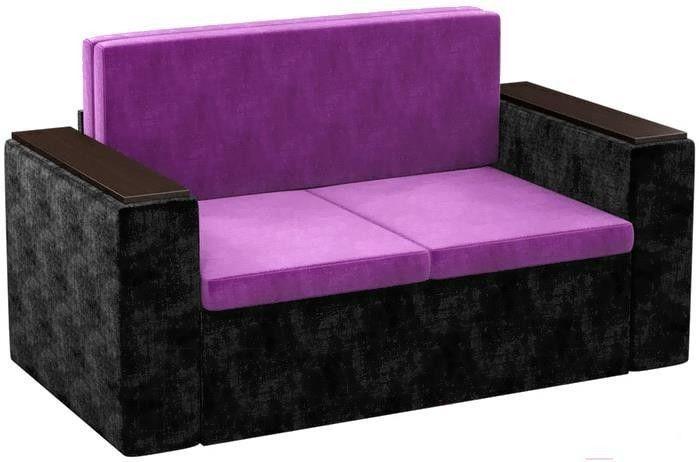 Диван Mebelico Арси 2 микровельвет черный/фиолетовый - фото 4