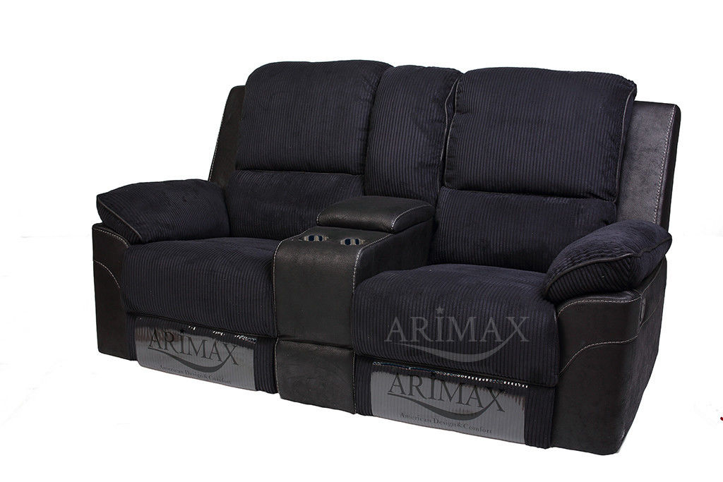 Диван Arimax Брукс (Ежевика) с консолью и реклайнерами - фото 1