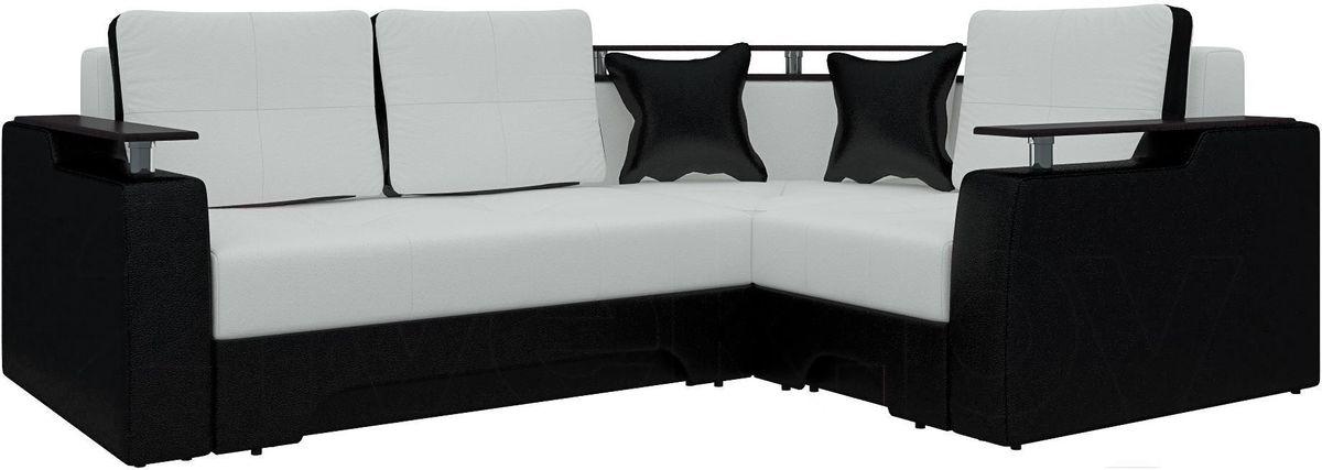 Диван Mebelico Комфорт 90 правый экокожа белый/черный - фото 1