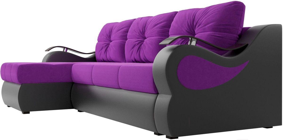 Диван Mebelico Меркурий левый 100366 вельвет фиолетовый/экокожа черный - фото 4