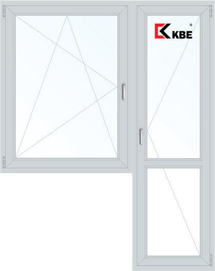 Окно ПВХ KBE Эксперт 1440*2160 2К-СП, 5К-П, П/О+П - фото 1