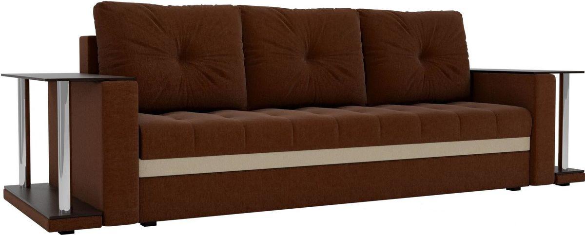 Диван Mebelico Атланта М 2 стола рогожка коричневый - фото 4