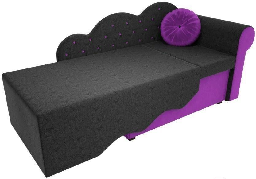 Диван Mebelico Тедди-1 106 правый 60493 микровельвет черный/фиолетовый - фото 3