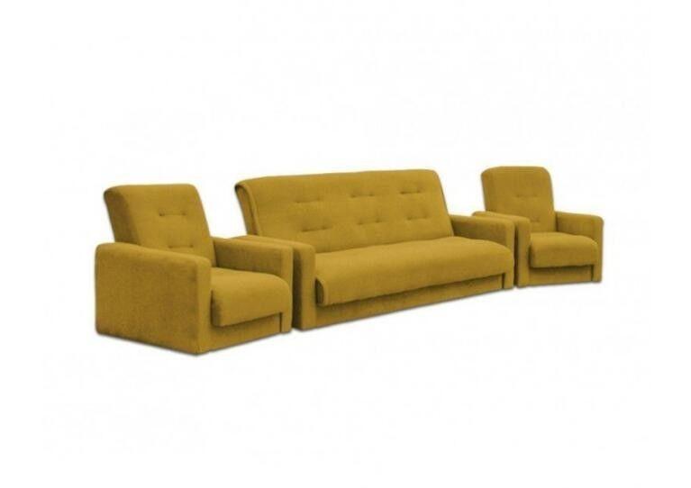 Диван Craftmebel Милан + 2 кресла желтый - фото 1