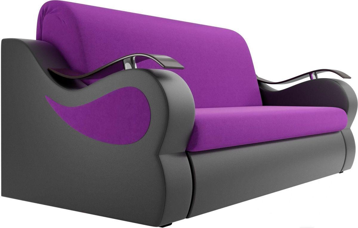 Диван Mebelico Меркурий 222 140, вельвет фиолетовый/экокожа черный - фото 4