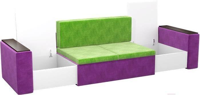 Диван Mebelico Арси 2 микровельв. фиолетовый/зеленый - фото 6