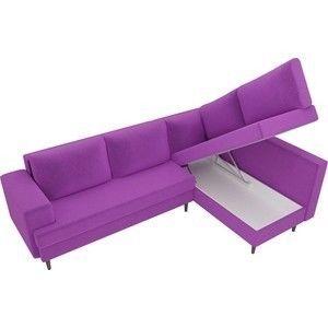 Диван ЛигаДиванов Сильвана угол правый микровельвет фиолетовый - фото 3
