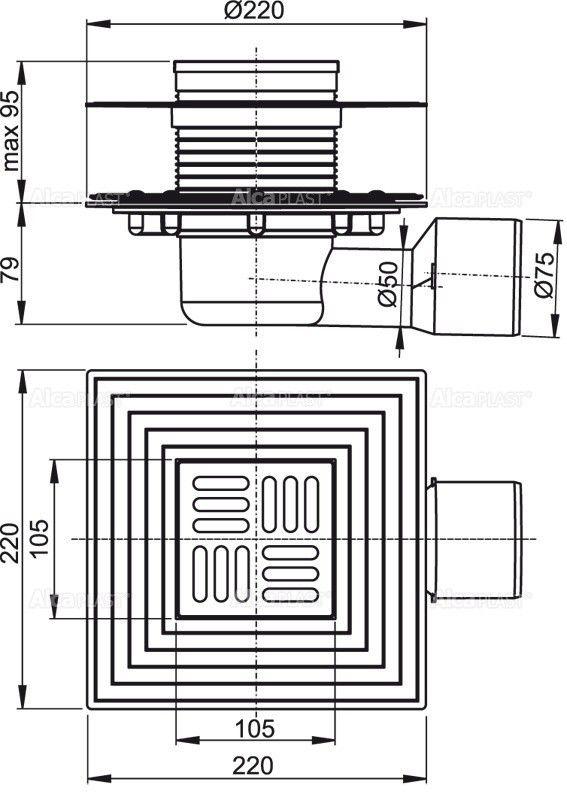 Водоотвод для ванной комнаты AlcaPlast APV3344 - фото 2