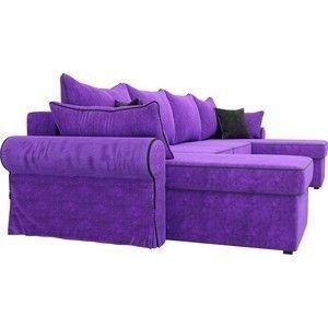 Диван ЛигаДиванов Элис П 124 60665 велюр фиолетовый черные подушки - фото 5