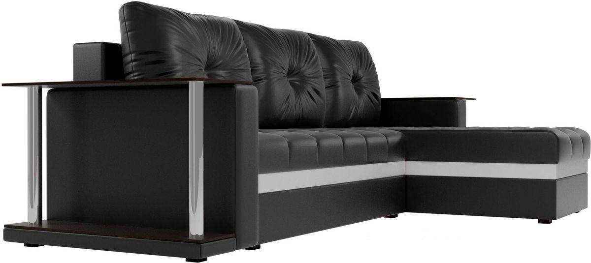 Диван Mebelico Атланта М правый 2 стола экокожа черный - фото 3