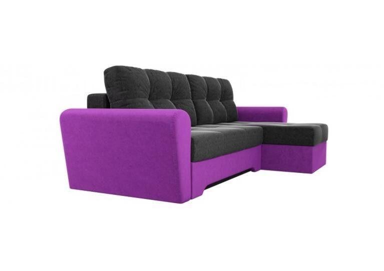 Диван Craftmebel Угловой Амстердам чёрно - фиолетовый вельвет - фото 2