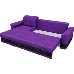 Диван ЛигаДиванов Честер левый велюр фиолетовый вставка черная - фото 5