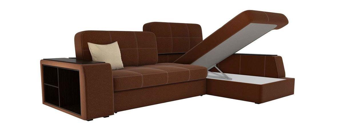 Диван ЛигаДиванов Брюссель правый рогожка коричневый 60216 - фото 3