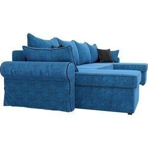 Диван ЛигаДиванов Элис П 124 60663 велюр голубой черные подушки - фото 4