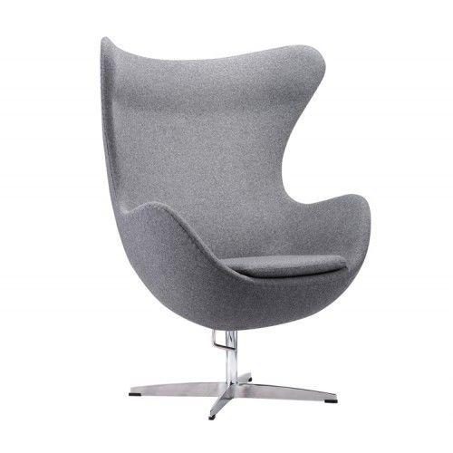 Кресло Альта Мебель Яйцо EGG (кашемир) темно-серый - фото 1