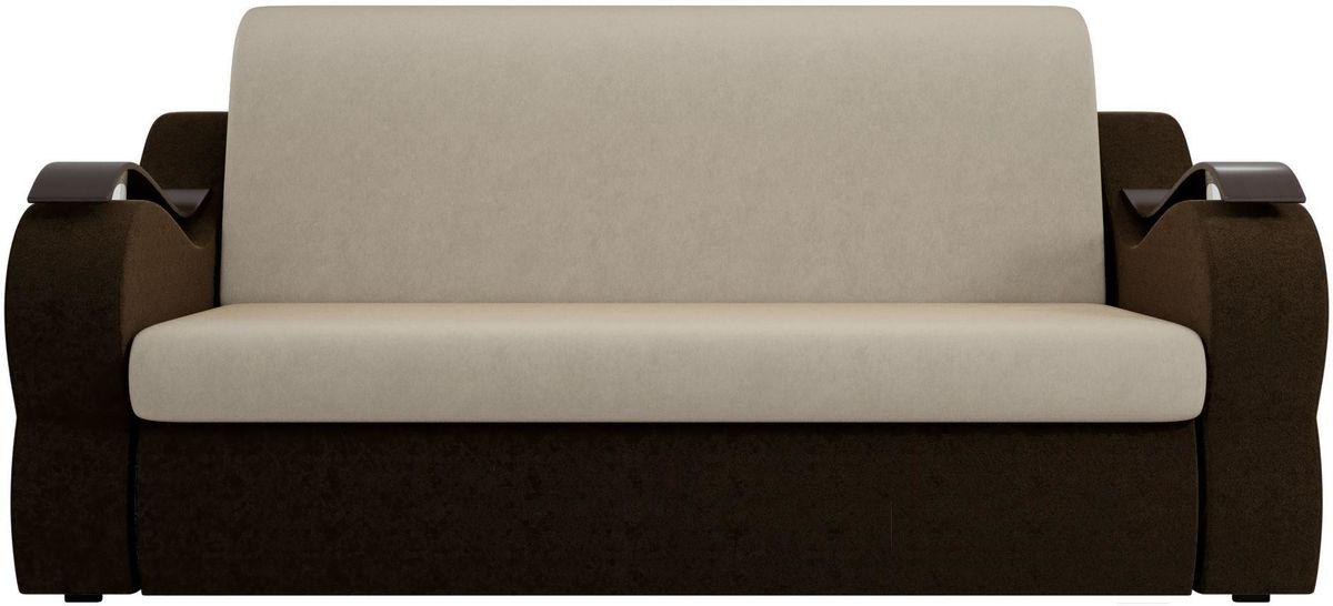 Диван Mebelico Меркурий 222 120, вельвет бежевый/коричневый - фото 1