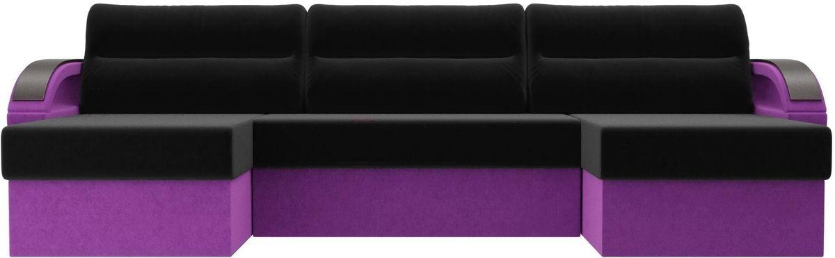 Диван ЛигаДиванов Mebelico Форсайт микровельвет фиолетовый/черный - фото 4