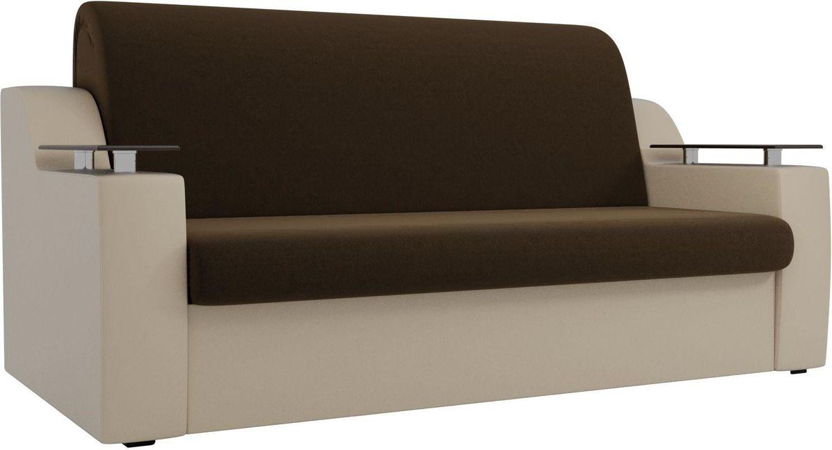 Диван Mebelico Сенатор 100713 140, микровельвет коричневый/экокожа бежевый - фото 3