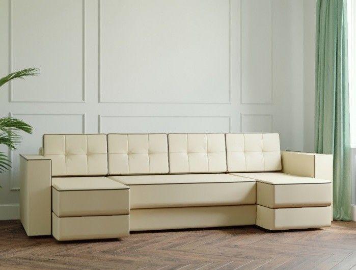 Диван Настоящая мебель Ванкувер Модерн (модель: 00-00000046) экокожа/бежевый - фото 1