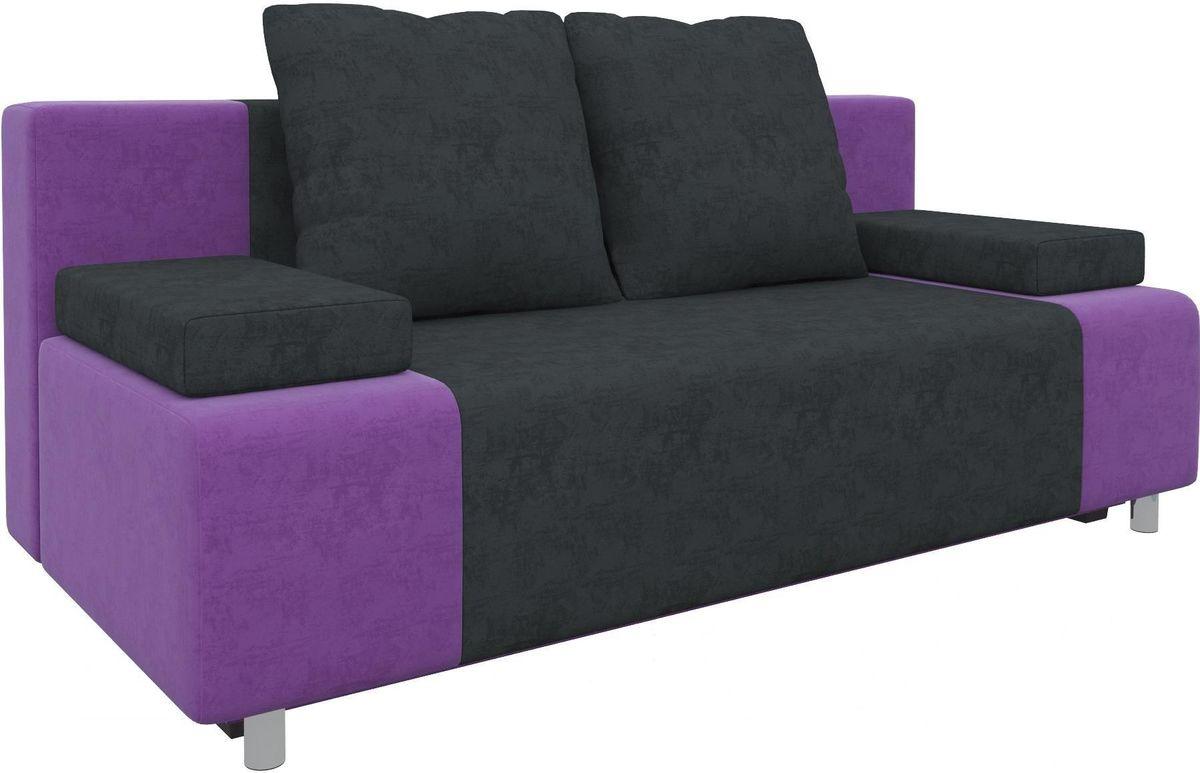 Диван Mebelico Чарли 63 микровельв. фиолетовый/черный - фото 2