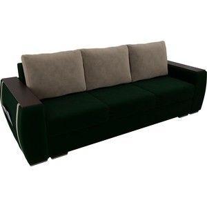 Диван ЛигаДиванов Брион велюр зеленый, подушки бежевые - фото 2