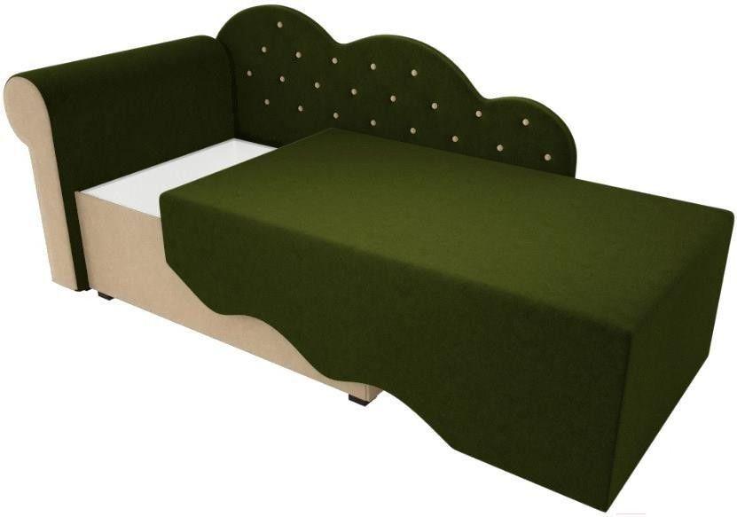 Диван Mebelico Тедди-1 106 левый 60489 микровельвет зеленый/бежевый - фото 2
