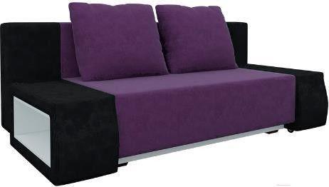 Диван Mebelico Чарли люкс 144 вельвет черный/фиолетовый - фото 1