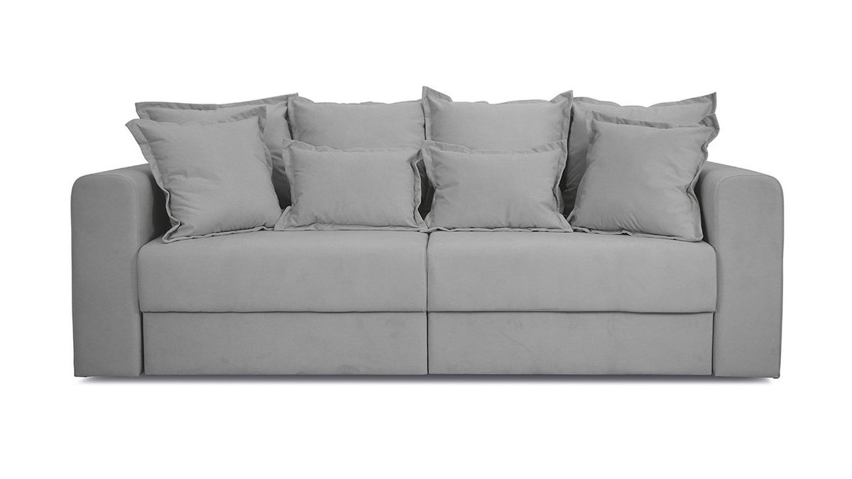 Диван ТриЯ «Раймонд» (Kolibri Silver (велюр) серый подушка Kolibri Cream (велюр) кремовый) - фото 2