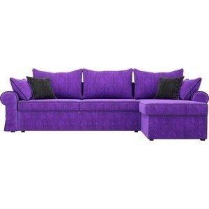 Диван ЛигаДиванов Элис 123 угловой правый 60653 велюр фиолетовый, черные подушки - фото 4