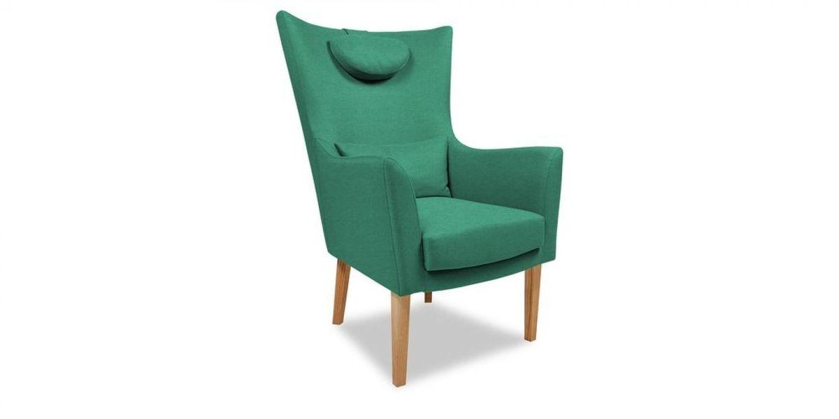 Кресло WOWIN Элеганза высокое (Бирюзово-голубая микророгожка) - фото 1