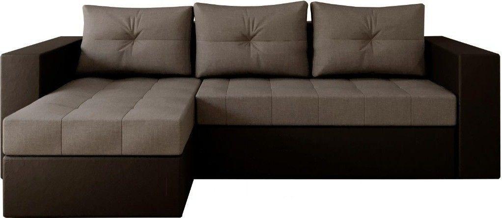 Диван Настоящая мебель Константин левый экокожа/рогожка черный/серый - фото 1