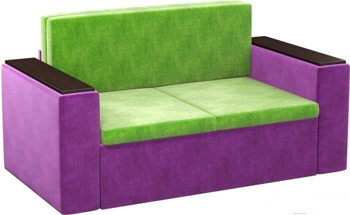 Диван Mebelico Арси 2 микровельв. фиолетовый/зеленый - фото 4