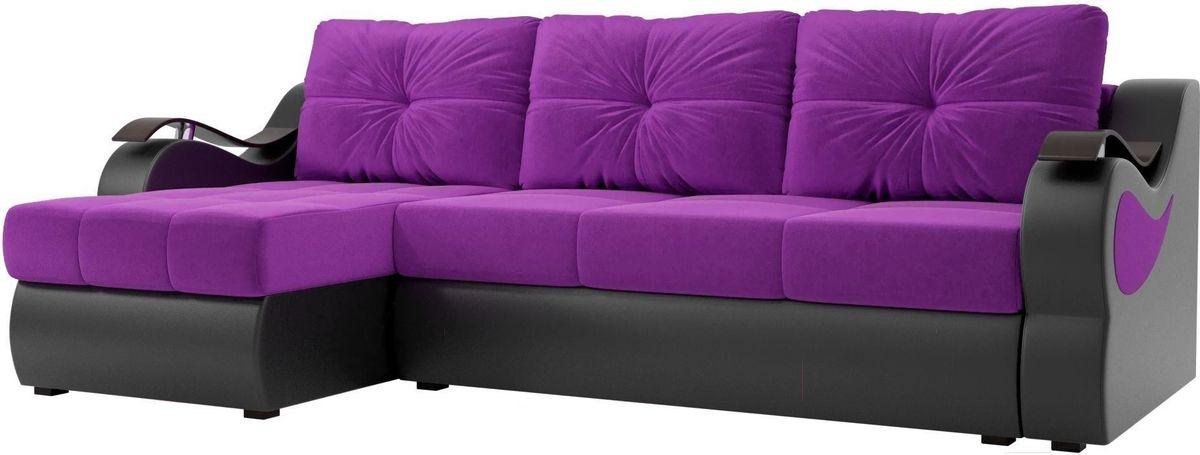 Диван Mebelico Меркурий левый 100366 вельвет фиолетовый/экокожа черный - фото 1