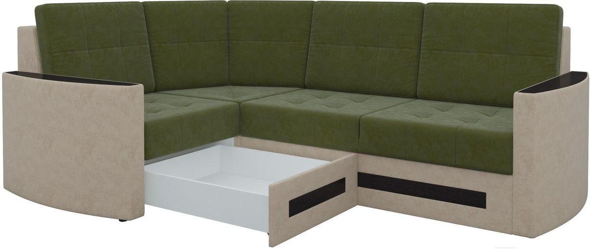 Диван Mebelico Белла У 476 левый вельвет зеленый/бежевый - фото 4