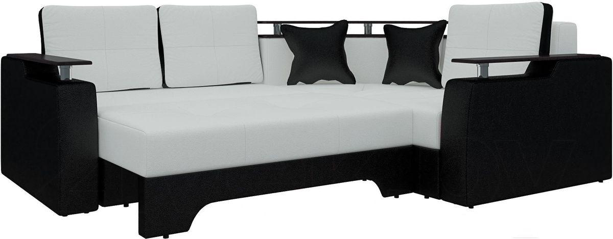 Диван Mebelico Комфорт 90 правый экокожа белый/черный - фото 3