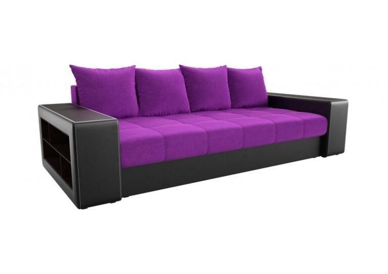 Диван Craftmebel прямой Дубай фиолетовый вельвет/чёрная экокожа - фото 1
