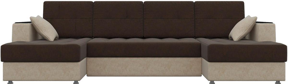 Диван Mebelico Эмир-П 85 микровельвет коричневый/бежевый - фото 1