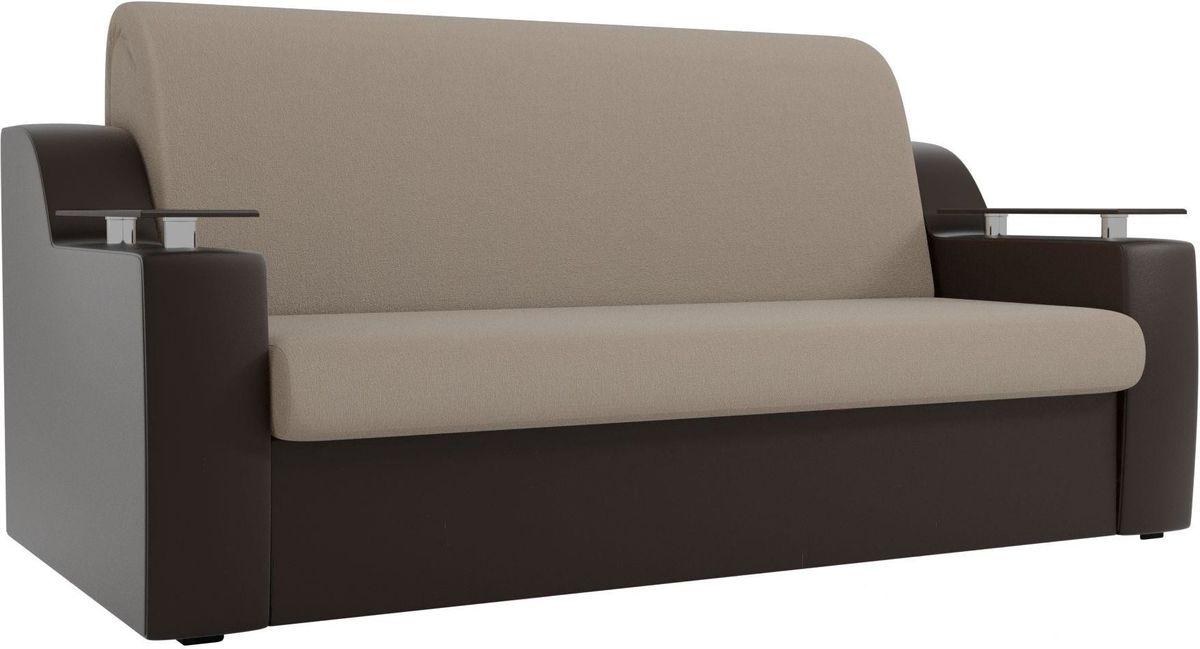 Диван Mebelico Сенатор 100720 140, рогожка бежевый/экокожа коричневый - фото 1
