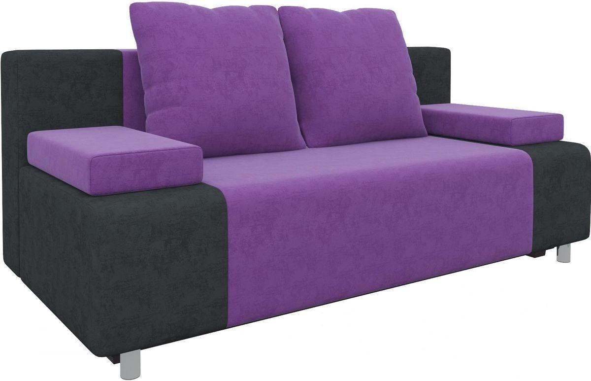 Диван Mebelico Чарли 63 микровельв. фиолетовый/черный - фото 5
