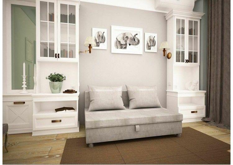 Диван Раевская мебельная фабрика Малыш флок светло серый 00588 - фото 1