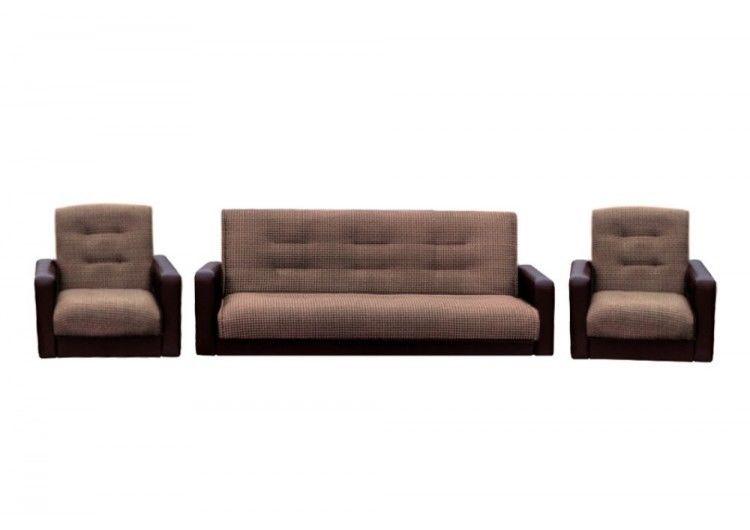 Набор мягкой мебели Луховицкая мебельная фабрика Лондон корфу микс коричневый 120х190 (диван + 2 кресла) - фото 1