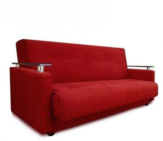 Диван Луховицкая мебельная фабрика Милан Люкс (Астра красный) пружинный 120x190 - фото 1