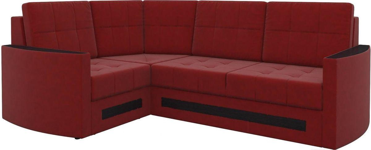 Диван Mebelico Белла У 476 левый вельвет красный - фото 1