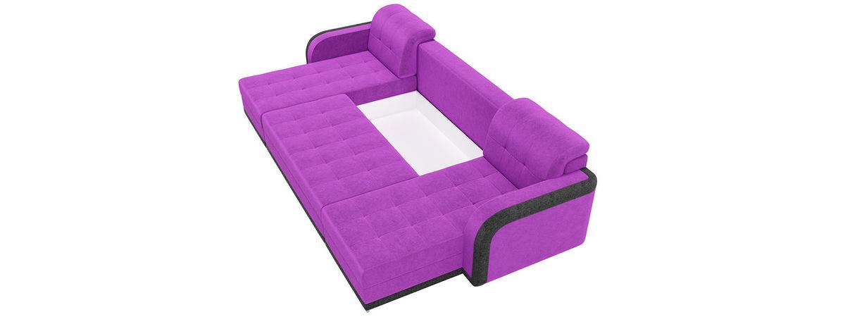 Диван Mebelico Марсель п-образный велюр фиолетовый/черный - фото 5