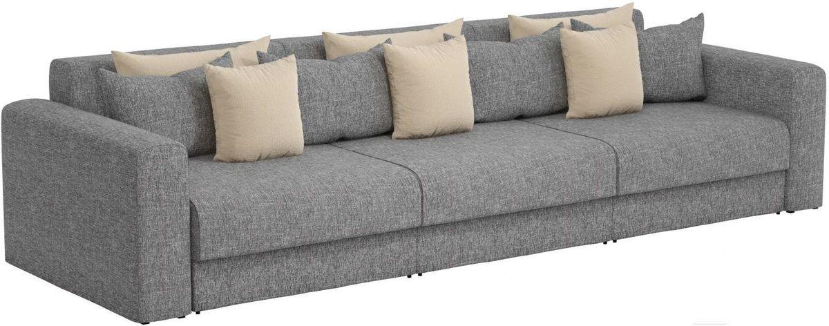 Диван Mebelico Мэдисон Long 69 59107/59210 рогожка серая, подушки бежевый/серый - фото 1