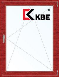 Окно ПВХ KBE Окно ПВХ 800*1100 2К-СП, 5К-П, П/О ламинированное (вишня) - фото 1